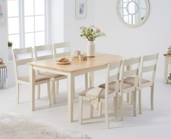 Chiltern 150cm Oak and Cream Table with Chiltern Chairs with Cream Fabric Seats