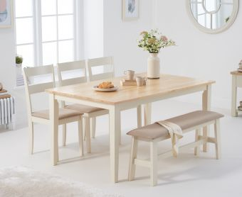 Chiltern 150cm Oak and Cream Table with Chiltern Chairs with Cream Fabric Seats and Bench