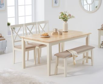Chiltern 150cm Oak and Cream Table with Epsom Chairs with Cream Fabric Seats and Benches