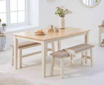 Chiltern 150cm Oak and Cream Dining Set with Fabric Benches