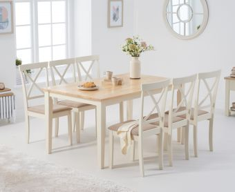 Chiltern 150cm Oak and Cream Table with Epsom Chairs with Cream Fabric Seats