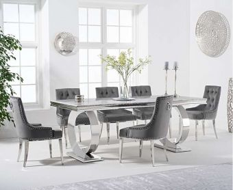 Hyde 200cm Marble Dining Table with Talia Velvet Chairs