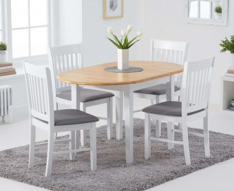 Amalfi Oak and White Extending Table with Chairs with Fabric Seats