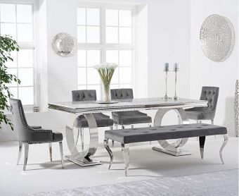 Hyde 180cm Marble Dining Table with Talia Velvet Chairs and Fairmont Bench
