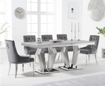 Veneziana 180cm Marble Dining Table with Talia Velvet Chairs