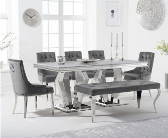 Veneziana 180cm Marble Dining Table with Talia Velvet Chairs and Fairmont Bench