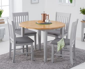 Genoa 100cm Oak and Grey Extending Table with Chairs with Fabric Seats