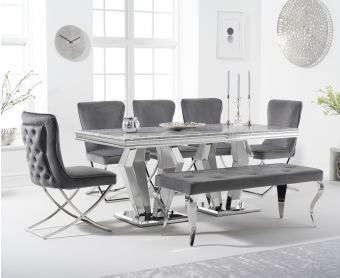 Veneziana 180cm Marble Dining Table with Giovanni Velvet Chairs and Fairmont Bench