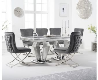 Veneziana 180cm Marble Dining Table with Giovanni Velvet Chairs