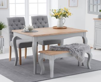 Parisian 130cm Grey Shabby Chic Dining Table with Candice Grey Fabric Chairs and Bench