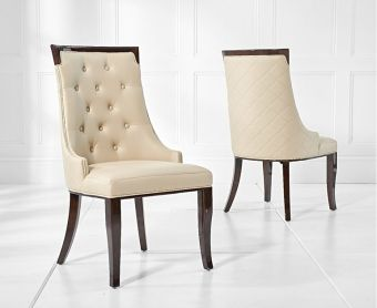 Angelica Cream Faux Leather Dining Chairs (Pairs)