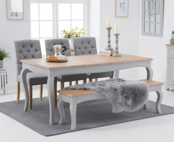 Parisian 175cm Oak and Grey Shabby Chic Table with Candice Fabric Dining Chairs and Bench