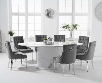 Coloseum 200cm Oval White Marble Dining Table with Talia Velvet Chairs