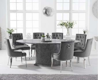 Coloseum 200cm Oval Grey Marble Dining Table with Talia Velvet Chairs