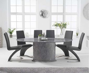 Coloseum 200cm Oval Grey Marble Dining Table with Hampstead Z Chairs