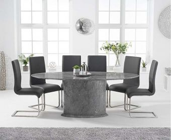 Coloseum 200cm Oval Grey Marble Dining Table with Malaga Chairs