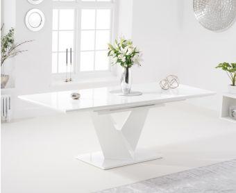 Hercules 160cm White High Gloss Extending Dining Table