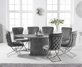 Coloseum 200cm Oval Grey Marble Dining Table with Giovanni Velvet Chairs