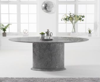 Coloseum 200cm Grey Oval Marble Dining Table