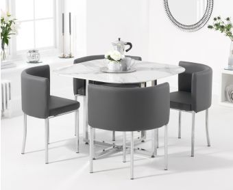 Algarve White Marble Stowaway Dining Table with Grey High Back Stools