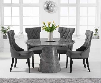 Romana 130cm Round Grey Marble Dining Table with Freya Chairs