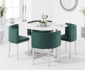 Algarve White Marble Stowaway Dining Table with Green Velvet High Back Stools