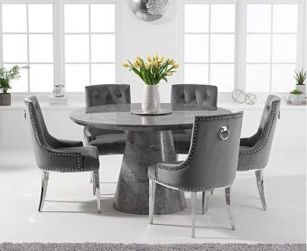 Romana 130cm Round Grey Marble Dining Table with Talia Velvet Chairs