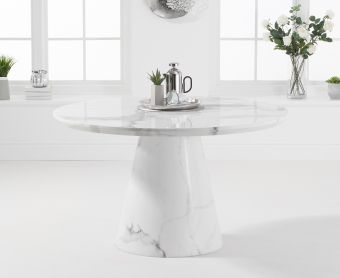 Romana 130cm Round White Marble Dining Table