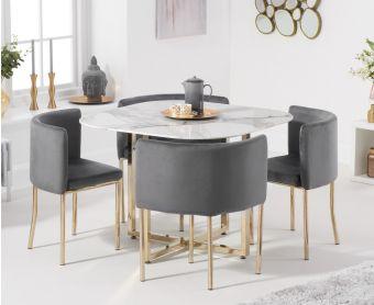 Algarve White Marble Gold Leg Stowaway Dining Table with Grey Velvet Gold Leg High Back Stools