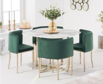 Algarve White Marble Gold Leg Stowaway Dining Table with Green Velvet Gold Leg High Back Stools