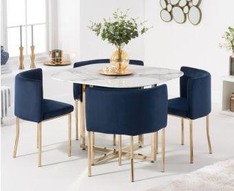 Algarve White Marble Gold Leg Stowaway Dining Table with Blue Velvet Gold Leg High Back Stools