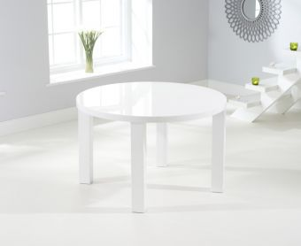 Atlanta 120cm Round White High Gloss Dining Table