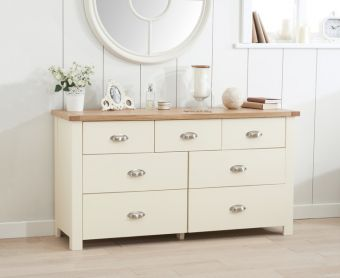 Somerset Oak and Cream 3 Over 4 Drawer Chest