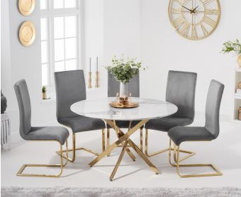 Nebraska 120cm Round White Marble Table with Malaga Velvet Chairs