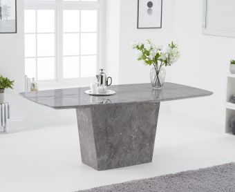 Foxwood 200cm Light Grey Marble Dining Table