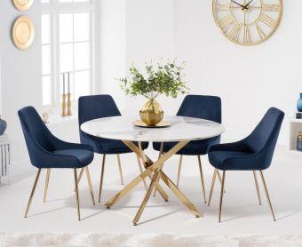 Nebraska 120cm Round White Marble Table with Fallon Velvet Chairs