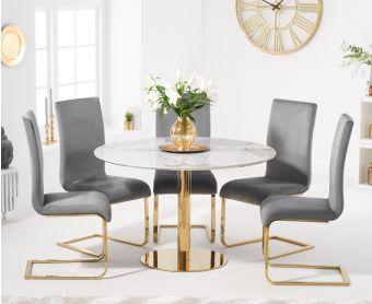 Nevada 120cm Round White Table with Malaga Velvet Chairs