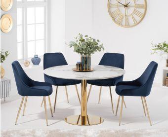 Nevada 120cm Round White Table with Fallon Velvet Chairs