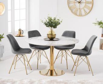 Nevada 120cm Round White Table with Celine Velvet Chairs
