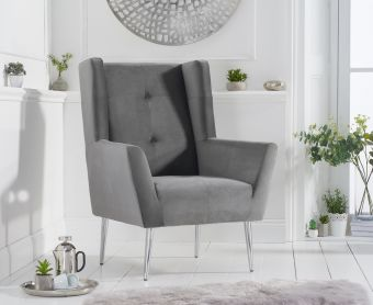 Bailey Grey Velvet Accent Chair
