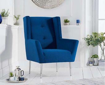 Bailey Blue Velvet Accent Chair