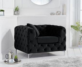 Ariel Black Velvet Armchair