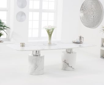 Alona 260cm White Marble Dining Table
