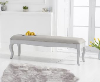 Parisian Large Grey Shabby Chic Bench with Grey Padded Seat