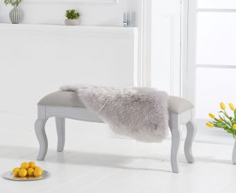 Parisian Grey Shabby Chic Bench with Grey Padded Seat