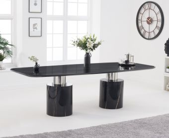 Alona 260cm Black Marble Dining Table