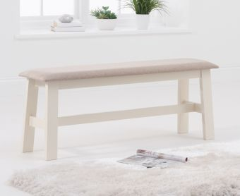 Chiltern Large Oak and Cream Bench with Fabric Seat
