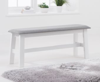 Chiltern Large Oak and White Bench with Fabric Seat