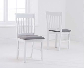 Amalfi White Dining Chairs with Grey Fabric Seats (Pairs)