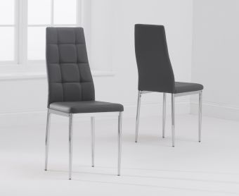 Cassa Grey Faux Leather Chairs